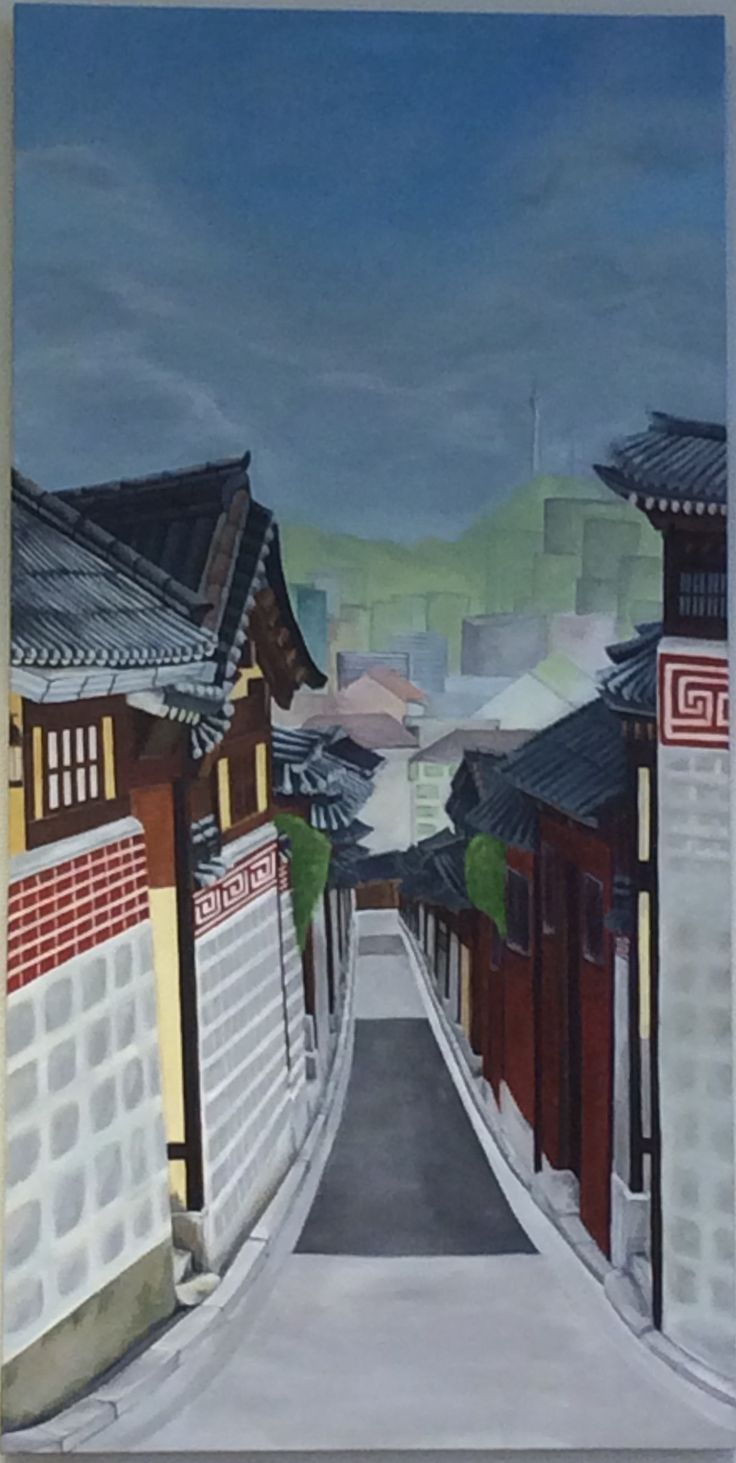 Acrylic painting by Noory Jeon #Bukchon hanok village#South Korea