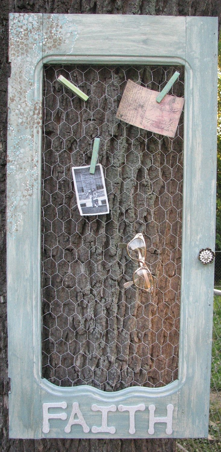 Upcycled Vintage Cabinet Door with Chicken Wire Back Message Center. $50.00, via Etsy.
