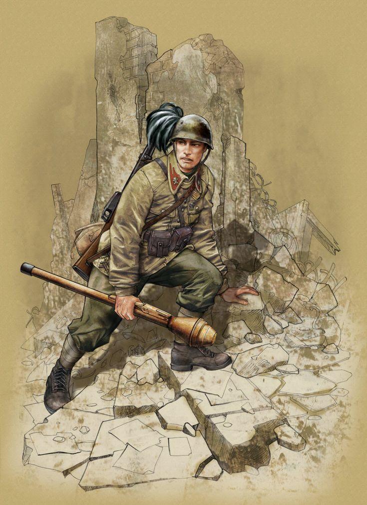 """R.S.I. - """"Bersaglieri, 'Mussolini' BTG, defence of the Italo-Yugoslav border, April 1945"""" in precedenza prima della formazine dell'Esercito della RSI formato come Battaglione volontario delle Waffen SS Bersaglieri Repubblicani '- Bersagliere con Panzerfaust"""