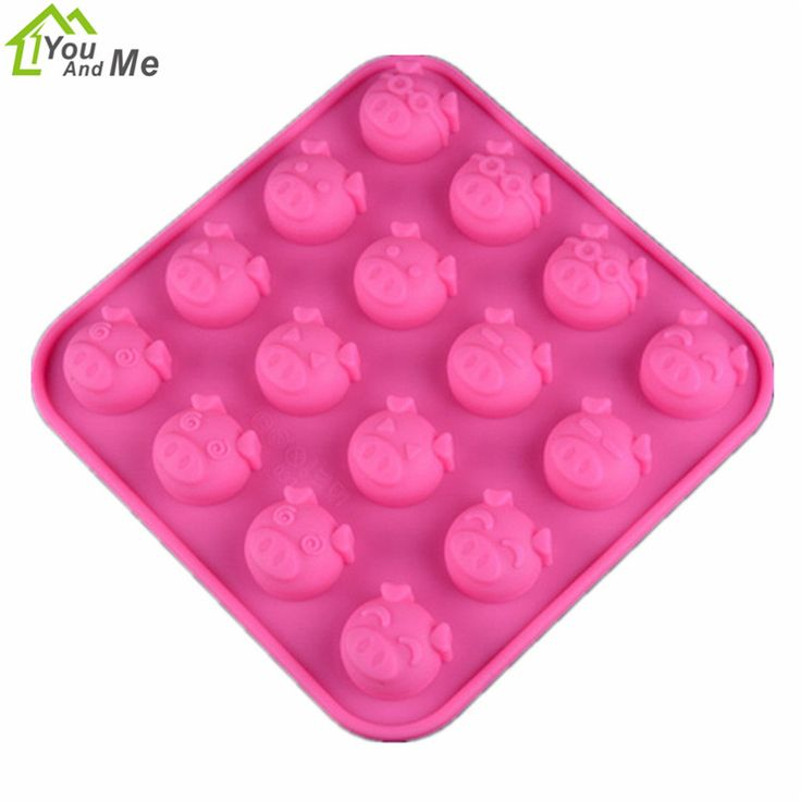 You And Me Pink Cartoon Pig 16 Cups Silicone Cake Mold Silicone Bakeware DIY Chocolate Ice Cupcake Mould Cake Decorating Tools //Price: $4.95 & FREE Shipping //     #hashtag4