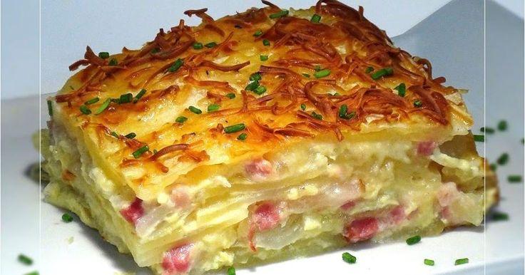 Patatas al gratén con cebolla, bacon y queso manchego