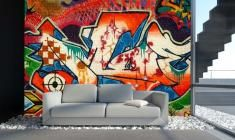 Graffiti-behangpapier blauw-rood - Fotobehang - behangpapier - online te koop • Graffunky