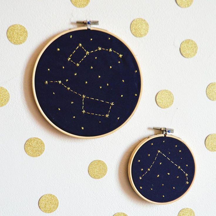 DIY broderie j'en veux sur mes robes, corsets, bottes lacées, vestes, ects constellation  DIY embroidery constellation
