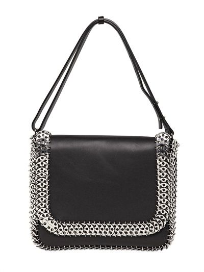 PACO RABANNE - LEATHER AND METAL SHOULDER BAG - LUISAVIAROMA - LUXURY SHOPPING WORLDWIDE SHIPPING - FLORENCE