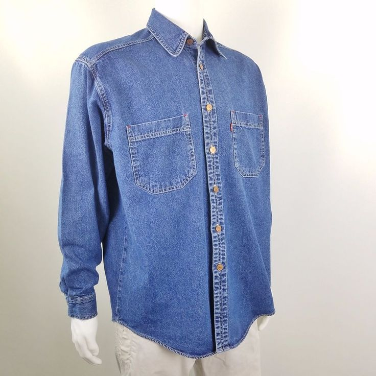 LEVIS  Red Tab Denim Shirt Mens Size M Vintage 90s Long Sleeve Button Front  #Levis #ButtonFront