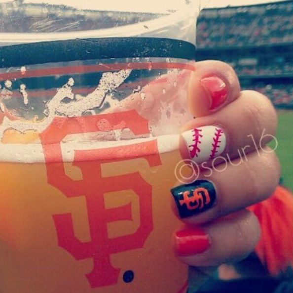 San Francisco Giants nail art design. Baseball ... - Best 25+ Baseball Nail Designs Ideas On Pinterest Softball Nails