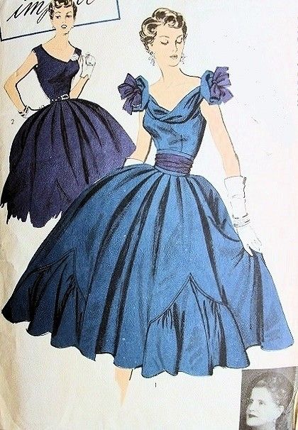 RARE BATTILOCCHI EVENING BOW DRESS PATTERN DRAPED NECKLINE, BOW TRIMMED POUFS, V BACK, FULL SKIRTED ADVANCE IMPORT PATTERNS 109
