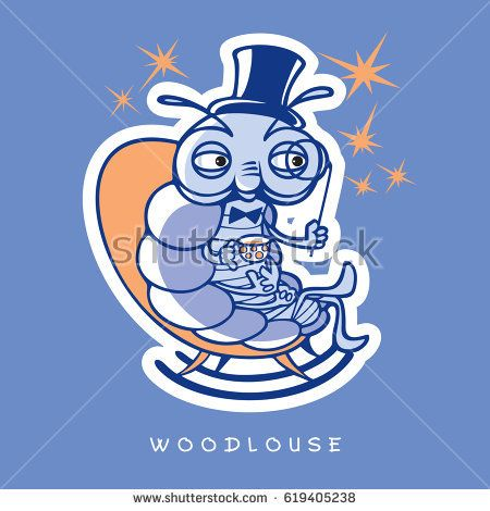 Vector illustration of funny insects in cartoon style. One noble wood louse sit in rocking chair with a hat, a monocle, a cup of tea and a few stars.   Image in blue and orange colors.