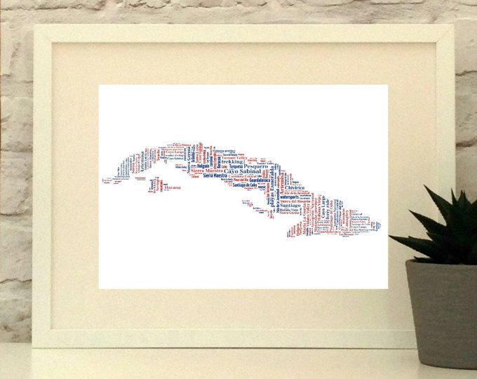 Cuba Map Personalised Print - Map Typography- Map Art