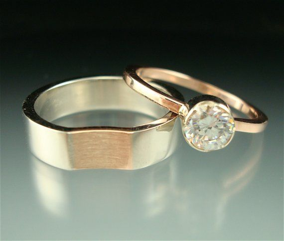 Pretty in Pink palladium rose gold moissanite by daniellejewelry