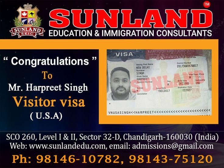 #Congratulations Mr. #Harpreet #Singh For getting #USA #Visitor #Visa  Through #Sunland #Education and #Immigration #Consultants We deals in #Student #Visa | #Spouse #Visa | #Tourist #Visa | #Schooling #Visa | #Investor #Visa | #PR We also deals in #IELTS/ #PTE/ #Spoken #English Contact us at:- SCO - 260, Sector 32-D, #Chandigarh http://sunlandedu.com +91 98146 10782 +91 98143 75120 +91 98551 58431