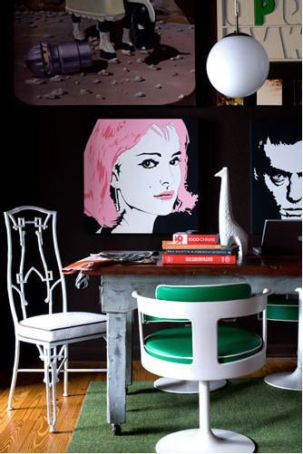 Photographed by Sarah Dorio - love the small highlight of colour: Dining Room, Interior, Pop Art, Idea, Color, Home Office, Living Room, Space, Design