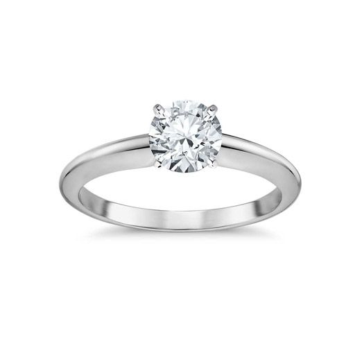 Four Prong 14k White Gold Plated Over Sterling Silver Engagement Ring