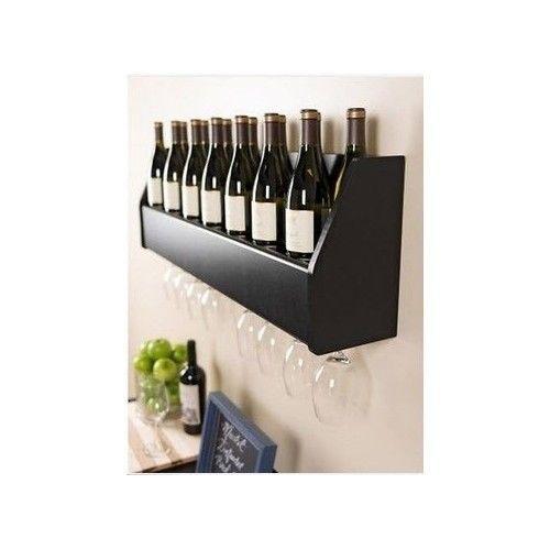 Wall Mount Wine Rack Floating Bottle Champagne Holder Kitchen Stand Bar Storage