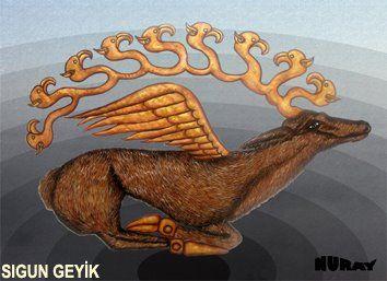 """GEYİK  Radlof, boynuzları iki kürekli sığın geyiği Altay Türklerinin ululadıklarını ifade eder.  Teleüt Türklerinde her şamanın bir ruhu vardır. """"bura"""", """"bur"""", """"pur"""" gibi çeşitli sözcüklerle ifade edilir ve geyik anlamında da kullanılır. Geyik boynuzları Şamanların önemli sembollerindendir. Türklere, Ergenekona girişte, Hunlara batıya göçlerinde dişi bir geyik yol gösterir. Orta Asya sanatında, yarı insan yarı geyik halinde gösterilmiş tasvirler vardır. Mitlerde dokuz boynuzlu yada budaklı…"""