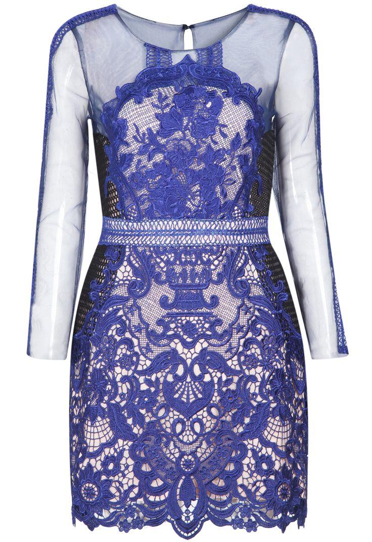 Blue Long Sleeve Lace Hollow Bodycon Dress -SheIn(Sheinside)
