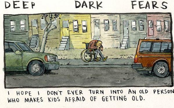 Každý z nás sa niečoho bojí a ilustrátor Fran Krause si je toho vedomý. Spýtal sa preto niekoľkých ľudí, čoho sa najviac obávajú a odpovede prekreslil na papier v skvelých komiksových ilustráciách.