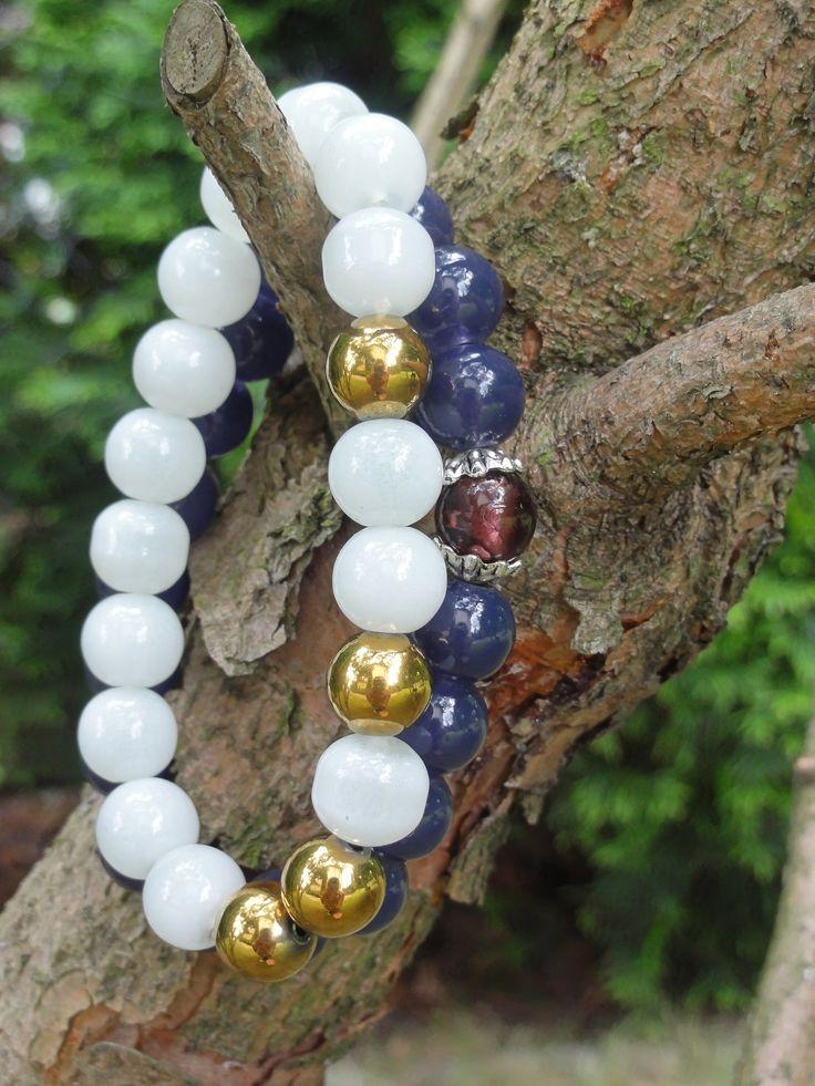 Biżuteria - złote hematyty, mleczne szkło i szkło weneckie