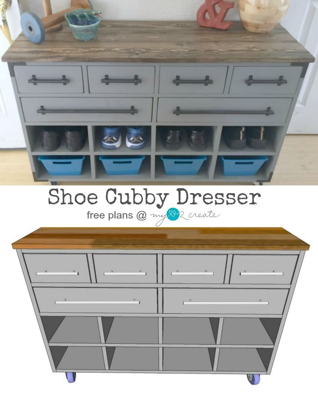 Build your own Shoe Cubby Dresser for your entryway, mudroom, or kids rooms!  Free plans at MyLove2Create