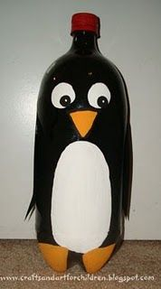 Recycle a 2-liter bottle into a Penguin Craft! Penguin bowling for Emilee's