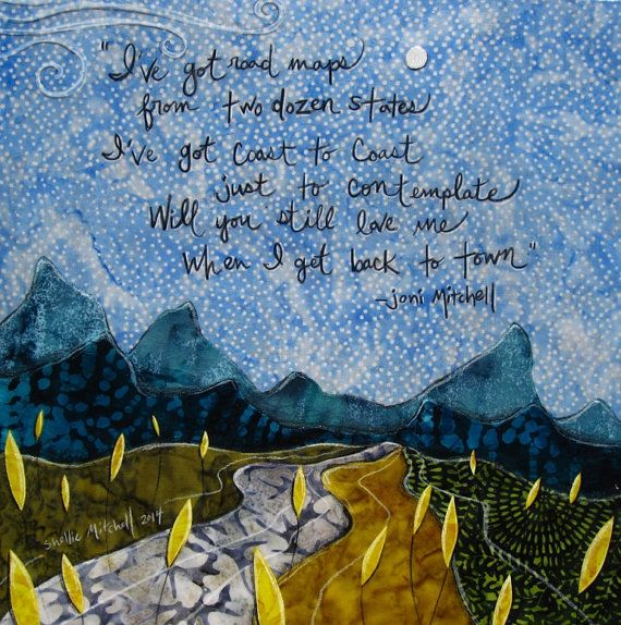 Coast to Coast joni mitchell blue motel room by shellieartist (Art & Collectibles, Mixed Media & Collage, Other Assemblage, original, blue sky, country prairie, theteam, summer spring, graduation gift, soul search, yellow wild flowers, Joni mitchell lyrics, blue motel room, blue mountains, rustic travels, coast to coast)