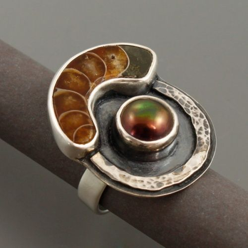 Marta Kępska  ||  Handmade silver ring with ammonite and pearl.