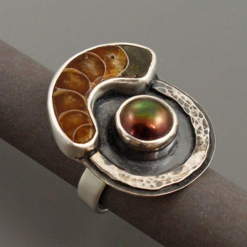 Marta Kępska  ||  Handmade silver ring with ammonite and pearl.