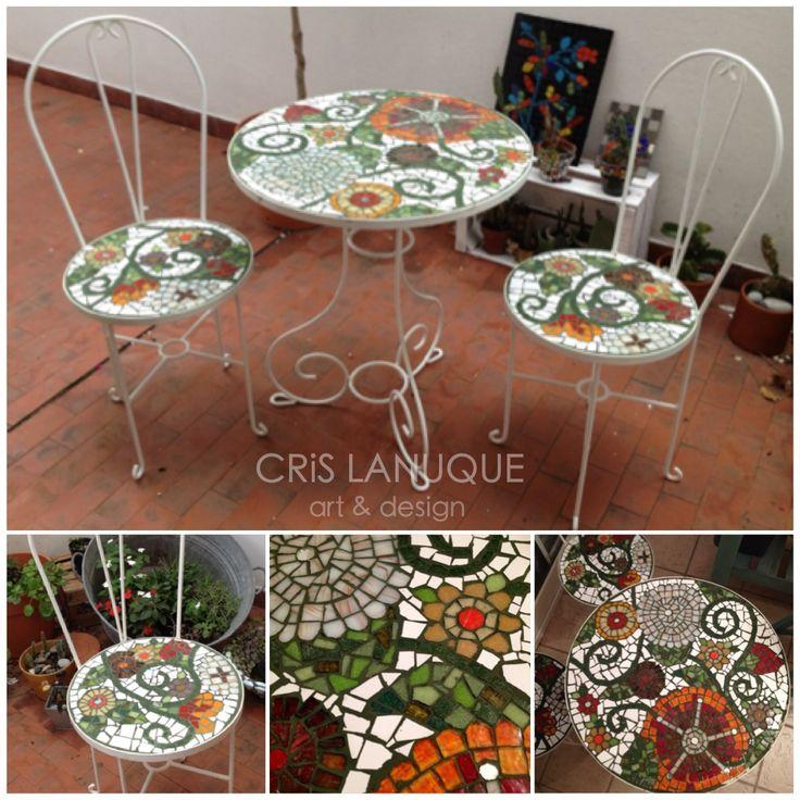 juego de mesa y sillas de hierro blanco, para exterior o interior, revestidas con venecitas, azulejos, espejo
