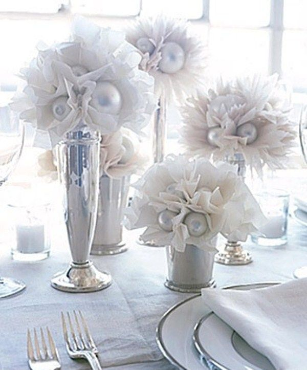 40 best winter weddings images on pinterest winter weddings photo max kim bee of 16 paper flower centerpiece lush tissue paper flowers with silver centers are arranged at different heights in silver trumpet vases junglespirit Image collections