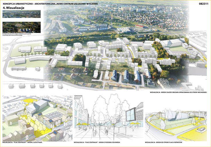 Nowe Centrum Usługowe w Tczewie. Aut: ARCA Biuro Projektów Urbanistyki i Architektury
