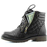 DailyShoes Womens Military Lace Up Buckle Combat Boots Ankle High Exclusive Credit Card Pocket Black Pu 8