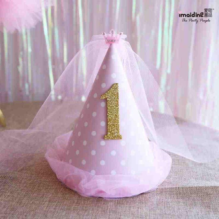 Розовый Принцесса вуаль шляпа день рождения ребенка день рождения ребенка, короны, шляпы для вечеринок одеваются реквизит-определиться. com дней кошка