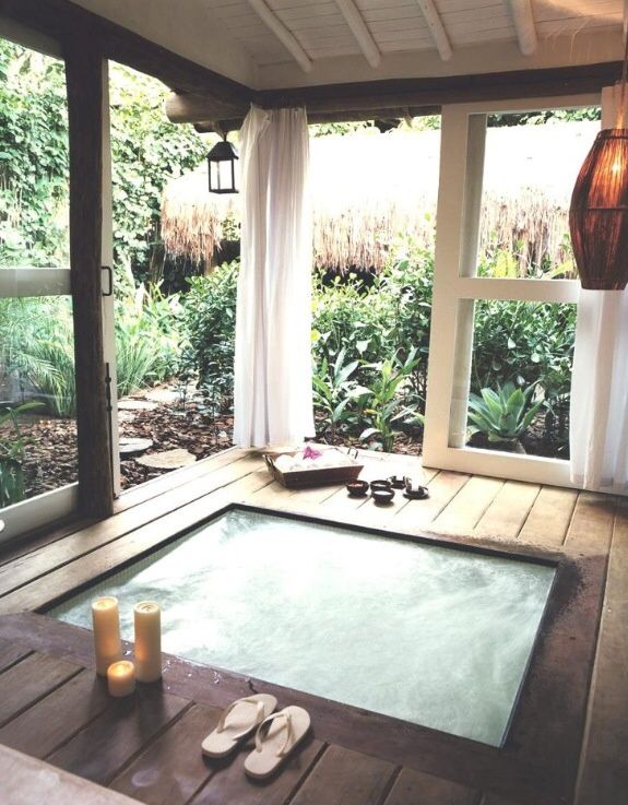 Asian Hot Tub with Gazebo, Exposed beam, Sunken hot tub, Sheer curtains, Pendant light, Pathway, Painted wood panel ceiling