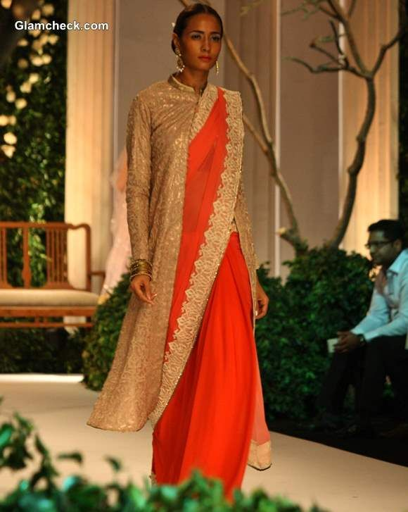 Sarees Teamed With Long Sherwani Jackets - Meera Muzaffar Ali India Bridal Fashion Week 2013