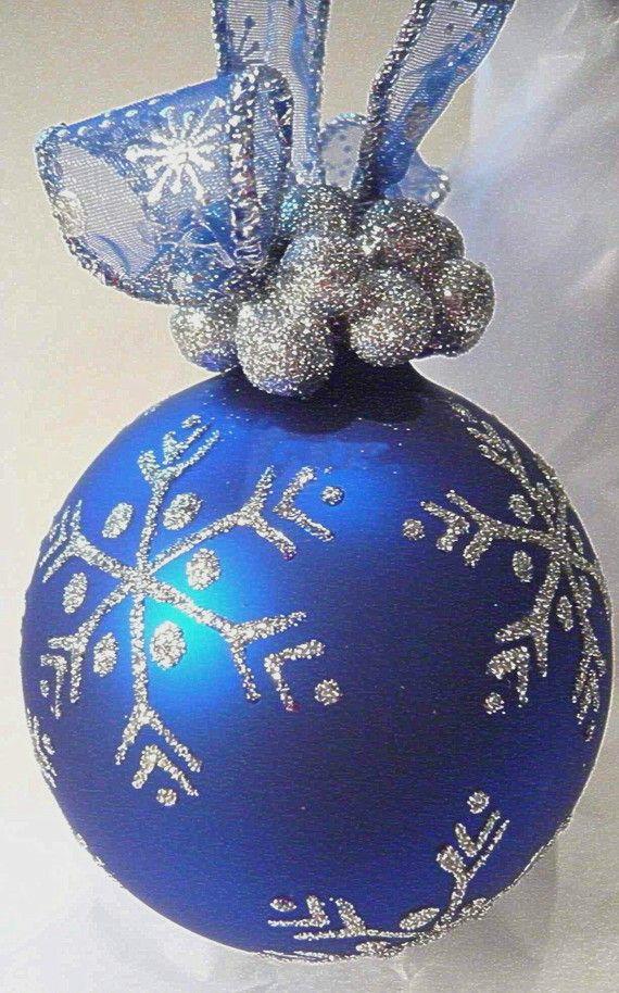 Good Royal Blue Christmas Ornaments Part - 14: Pin The Halls Tree Trimmings - Snowflake Glass Ornament. Find This Pin And  More On Royal Blue Christmas ...