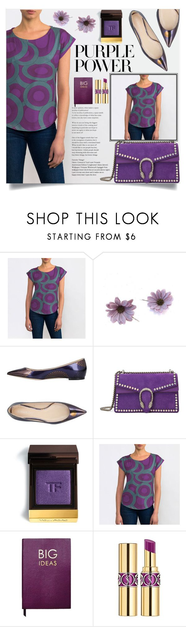 """International Women's Day: Purple Power"" by samra-bv ❤ liked on Polyvore featuring ULTA, Nina Ricci, Gucci, Tom Ford, Sloane Stationery and Yves Saint Laurent"
