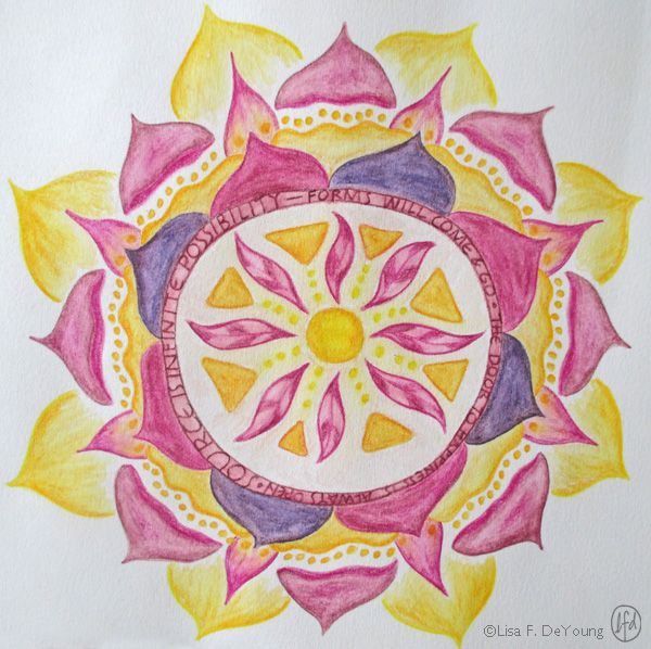 Solstice Mandala Calendar Day #20: Artist: Lisa F. DeYoung from Salida, Colorado, USA. Visit her website at www.mountainmermaidstudios.com  Have you downloaded your Solstice Mandala Calendar yet? Get it here: http://collagediva.typepad.com/collagediva/2014/11/solstice-mandala-calendar.html