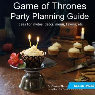 If you've always wanted to host a Game of Thrones-themed party, this instructional Game of Thrones Party Planning ebook by Chelsea Monroe-Cassel will help you plan the perfect fantasy-filled evening. From invitations, decorations, food to drinks, this Game of Thrones Party Planning ebook is filled with great party ideas inspired by the notoriously popular hit fantasy TV show.