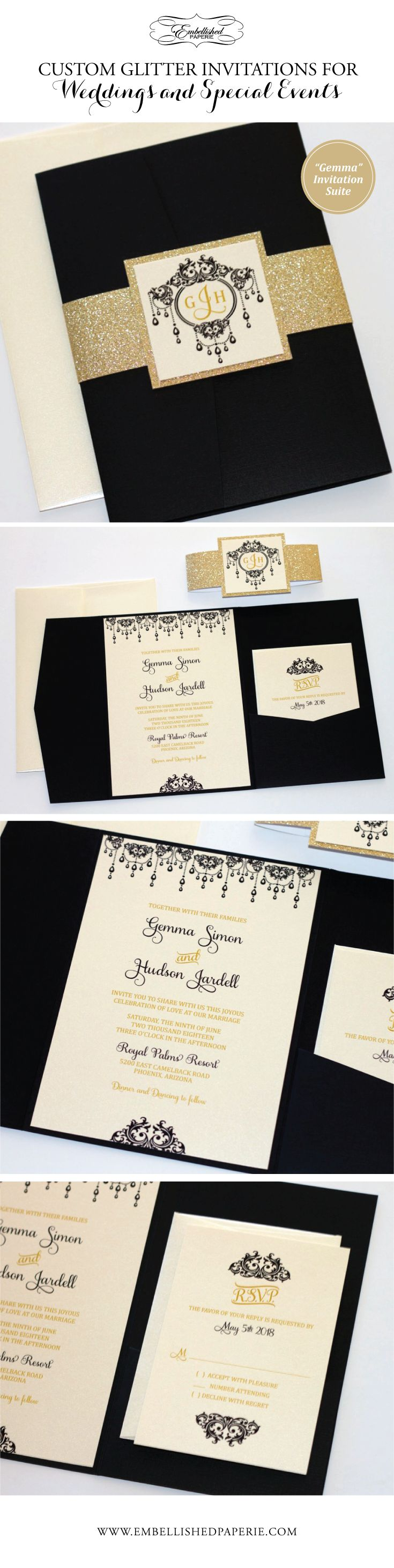 Elegant Glitter Wedding Invitation - Ivory, Black and Gold Glitter Wedding Invitation - Glitter Belly Band, Black Pocket folder - Elegant Wedding Invitation with Ornate Scroll Design. Colors can be customized.  www.embellishedpaperie.com