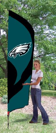 Philadelphia Eagles NFL Tall Team Flag with Pole: 8 1/2 ft x 2 1/2 ft applique and… #SportingGoods #SportsJerseys #SportsEquipment