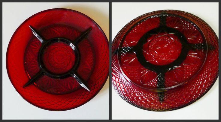Vintage Ruby Red Glass Divided Plate Cris D'Arques Durand Luminarc France #CrisDArquesDurandLuminarc