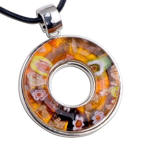 Pugster Orange Millefleurs Open Round Pendant Necklace Murano Glass Pugster. $12.79. Weight (gram): 29.3. Metal: murano glass. Color: white, orange. Size (mm): 45.2*7.22*60.1