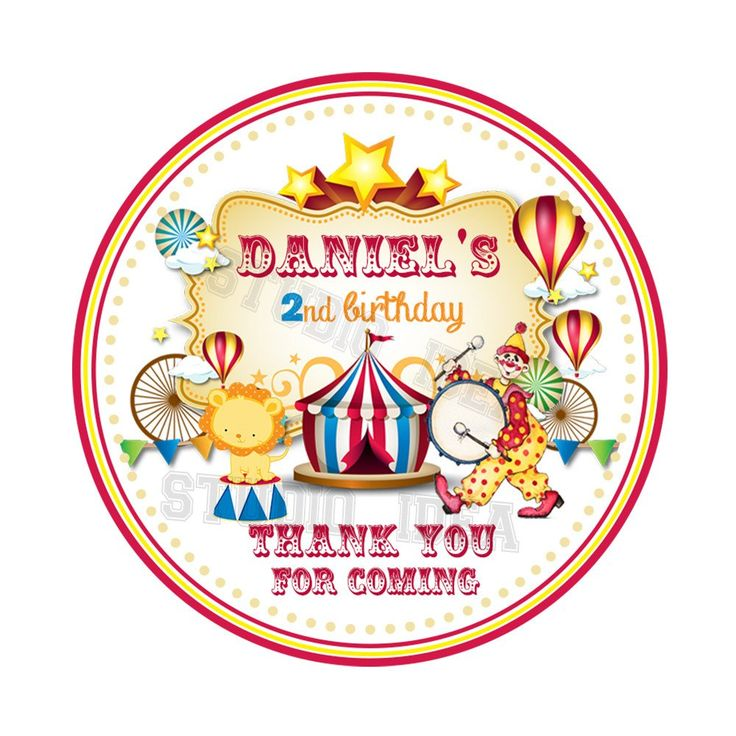 "Custom CircusTheme Party Printable 2.5"" Tags-Personalized Circus-Carnival Birthday 2.5 inches Tags- Stickers DIY Favor Tags"