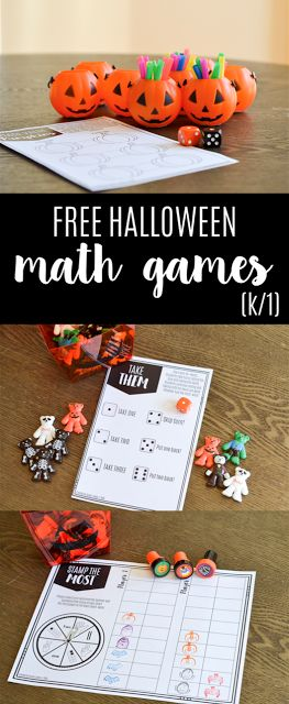 FREE Halloween math games for grades K-1!