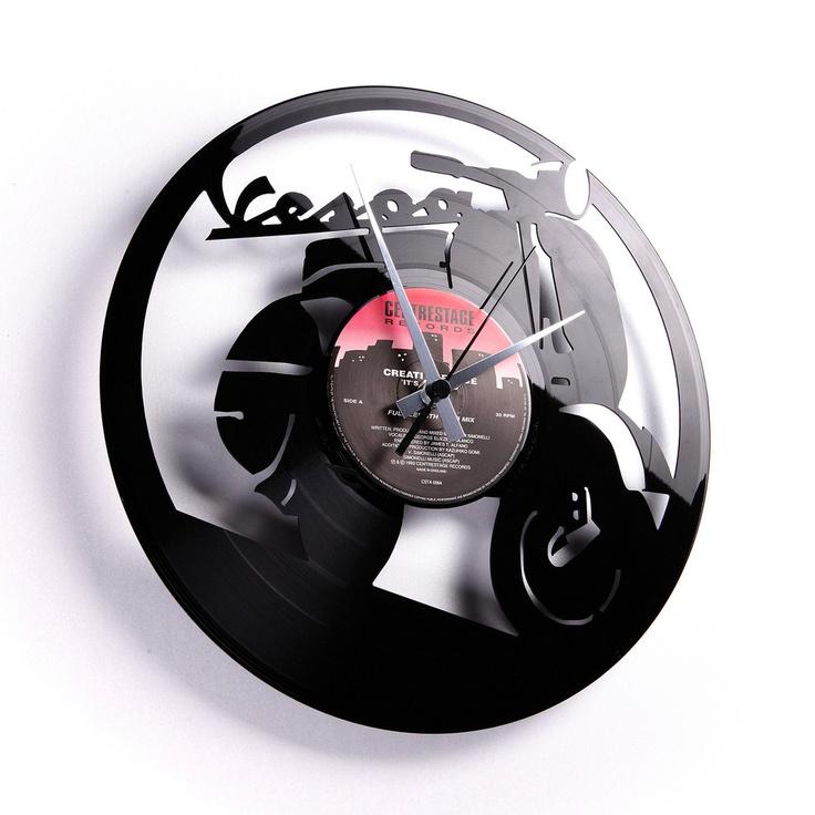 Recycled Vinyl Record Clock Vespa Clock Wanduhren
