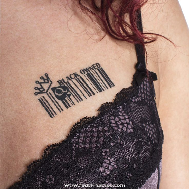Barcode Tattoo with sign of Queen of Spades. Marked 4 BBC Lovers with a Tattoo. Black Owned submissive tattoo by www.fetish-tatoo.com