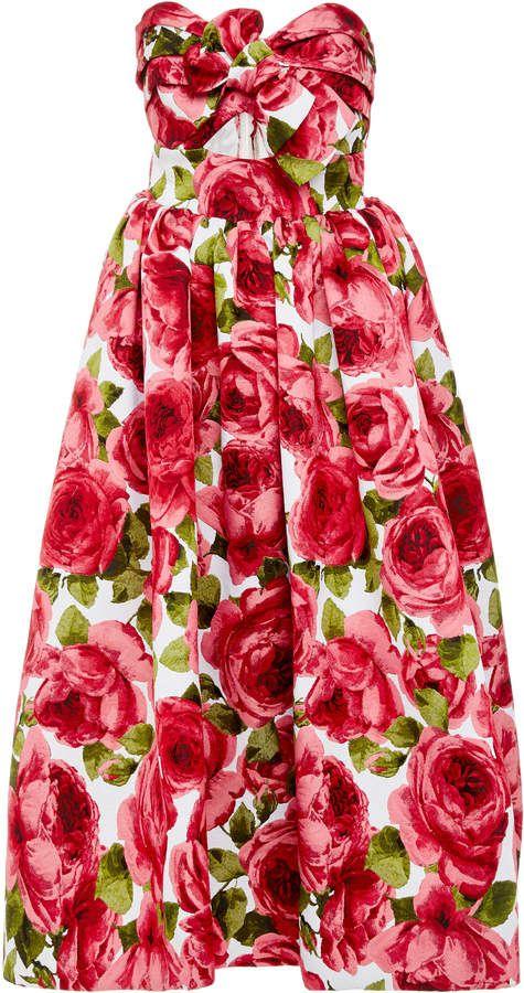 cb5d6169cf2 Michael Kors Collection Strapless Floral-Print Jacquard Midi Dress.  Beautiful chic flower dress. Rose dress. Chic rose dress. Midi rose dress.