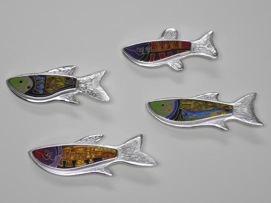 Pamela Argentieri, Fish Brooches I, II, III & IV, 2005, Sterling, cloisonné enamel, sterling and fine silver, 24k gold.