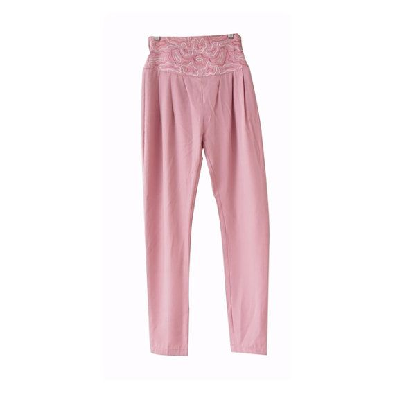 Antique Embroidered Pant  Vintage Light Pink Pant  Women by LPSNUG