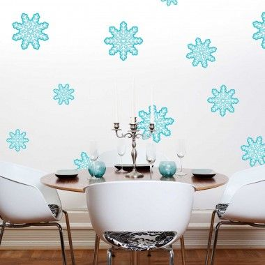 Our Snowflake Wall Decal Kit will add a touch of style and and Holiday charm to your home, office, or dorm. The kit contains 33 Blue and White Printed Snowflakes